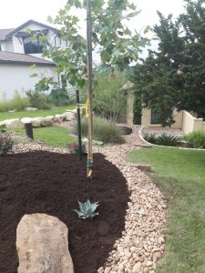 Landscaping Service - YardDoc - Leander, TX - Leander Lawn Care - River rock and mulch bed