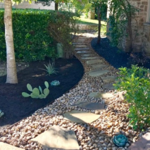 YardDoc - Austin, TX - River Rock and Slate Pathway