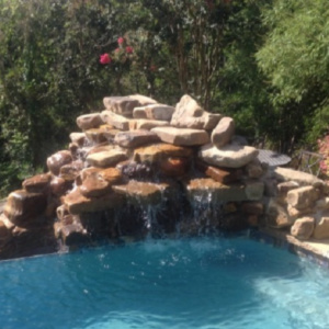 Pool Landscaping - YardDoc - Cedar Park, TX - Pool Waterfall