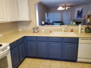Handyman Services - Kitchen Interior Painting - Blue White Cabinets - YardDoc