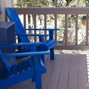 Handyman Services - YardDoc - Austin, TX - Exterior Painting Deck Taupe and Chairs Blue